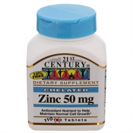 21st Century Chelated Zinc 50 mg Tablets - 110ct