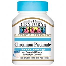 21st Century Chromium Picolinate 200mcg Tablets - 100ct