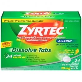 Zyrtec 24 Hour Allergy Dissolve Tablets 10mg Citrus 24ct