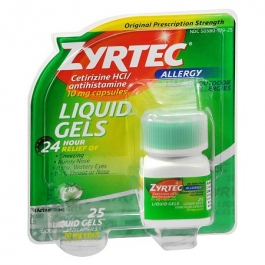 Zyrtec 24-Hour Allergy Relief, 10 mg, Liquid Gels- 25ct