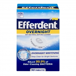 Efferdent PM Overnight Anti-Bacterial Denture Cleanser Tablets, 90 ct
