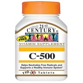 21st Century Vitamin C 500 Mg Tablets, 110 Count