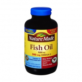 Nature Made Fish Oil 1000 mg 300 mg Omega-3 Softgels 250ct