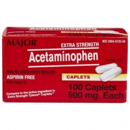 Major Extra Strength Acetaminophen 500 mg Caplets, 100 ct