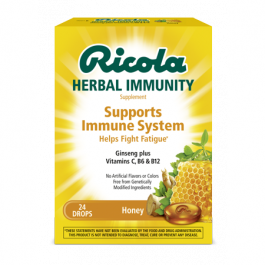 Ricola Herbal Immunity Supplement Drops Honey - 24 ct