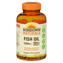Sundown Naturals Fish Oil Dietary Supplement Softgels, 1200mg, 100ct
