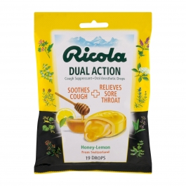 Ricola Dual Action Cough Drops - Honey Lemon - 19ct
