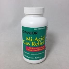 Major Mi-Acid Gas 80mg Chewable Tablets 100ct