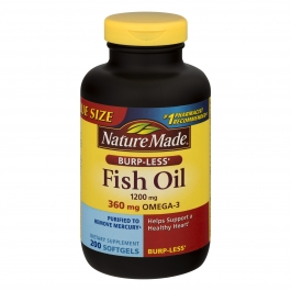 Nature Made Burp-Less Fish Oil 1200mg, 360mg Omega-3, Liquid Softgels, 200ct
