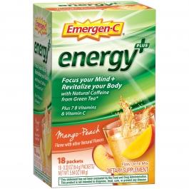Emergen-C Energy Plus Packets, Mango-Peach, 18 Ct
