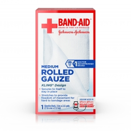 Band-Aid First Aid Rolled Gauze, Medium 3 in x 2.5 yds