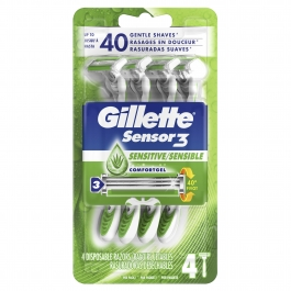 Gillette Sensor3 Sensitive Mens Disposable Razors, 4 ct