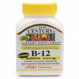 21st Century B-12 5000 Mcg Sublingual Tablets, 110ct