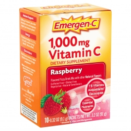 Emergen-C Vitamin C Fizzy Drink Mix Raspberry 1000 mg - 10 Packets