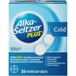 Alka-seltzer Plus Cold Medicine, Sparkling Original Effervescent Tablets 36ct