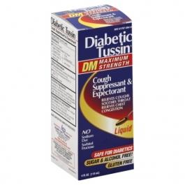 Diabetic Tussin DM Cough Suppressant/Expectorant Max Strength 4oz
