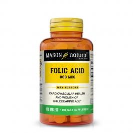 Mason Natural, Folic Acid 800 mcg, 100 Tablets