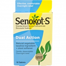 Senokot-S® Natural Vegetable Laxative Ingredient Plus Stool Softener- 10ct