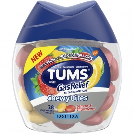 Tums Chewy Bites with Gas Relief, Lemon and Strawberry - 28ct