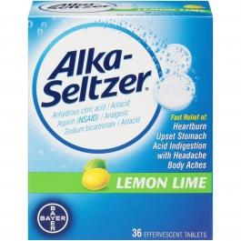 Alka Seltzer Antacid & Pain Relief Lemon Lime Tablets 36ct