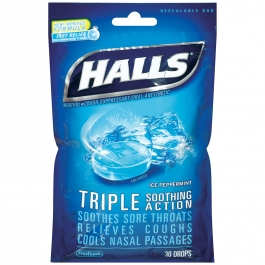 Halls Drops, Ice Peppermint - 30 Drops