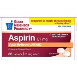 Good Neighbor Pharmacy 81 MG Aspirin Orange Flavor Chewable 36ct