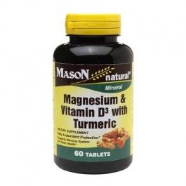 Mason Natural Magnesium & Vitamin D3 with Turmeric, Tablets, 60ct