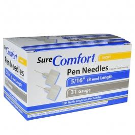"""SureComfort Pen Needle 31 Gauge, 5/16"""", 100 Count"""