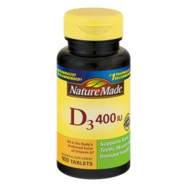 Nature Made Vitamin D3 400 IU Tablets 100ct