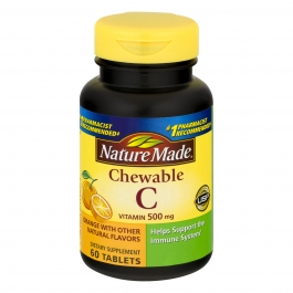 Nature Made Vitamin C 500mg Chewables, Orange, 60ct