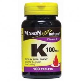 Mason Natural Vitamin K, 100mcg, Tablets, 100ct
