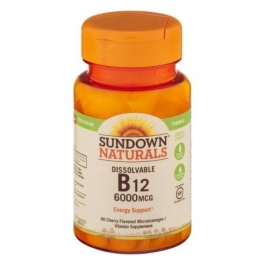 Sundown Naturals Sublingual B-12 6000mcg Cherry Flavored Tablets 60ct