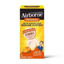 Airborne Immune Support Supplement Chewable Tablets,  Citrus- 32ct