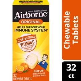 Airborne Immune Support Supplement Chewable Tablets,  Citrus- 32ct