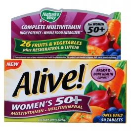 Nature's Way Alive! Women's 50+ Multivitamin & Whole Food Energizer Dietary Supplement Tablets - 50ct