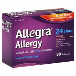 Allegra Allergy 24 Hour Non-Drowsy Tablets, 180mg- 30ct