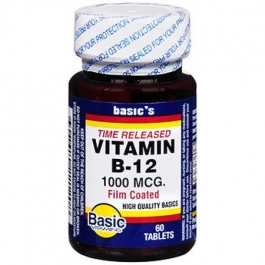 Basic Vitamins Vitamin B-12 1000 Mcg Tablets Time Released - 60 Ct