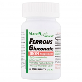 Mason Natural Ferrous Gluconate, Green Tablets, 100ct