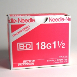 BD Needle Only General Thin Wall 18 Gauge 1.5 inch - 100ct