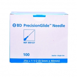 BD Precision Glide Needle Only 25 Gauge 1.5 inch - 100ct