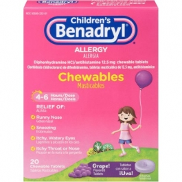 Children's Benadryl Grape Allergy 12.5 mg Chewables - 20ct
