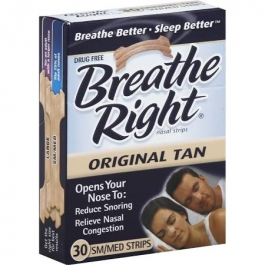 Breathe Right Nasal Strips,  Tan Small-Medium - 30ct