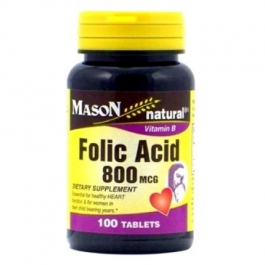 Mason Natural, Folic Acid 800 mcg, 100 Tablets