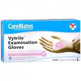 CareMates Vytrile Examination Gloves, Powder Free, Large- 100ct