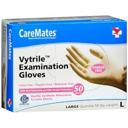 CareMates Vytrile Examination Gloves, Powder Free, Large- 50ct