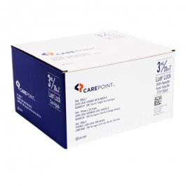 """CarePoint Luer Lock Syringe, 20 Gauge, 3cc, 1"""" Needle - 100 Count"""