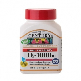 21st Century Vitamin D3 1000 IU Softgels, 250 Ct