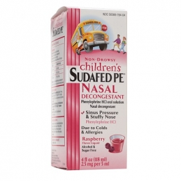 Sudafed PE Children's Non-Drowsy Nasal Decongestant, Berry- 4oz