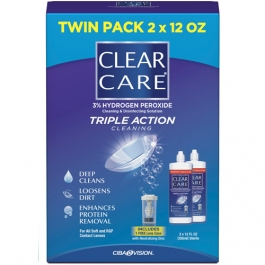 Clear Care Triple Action Cleaning & Disinfecting Solution Twin Pack - 2x12oz