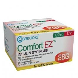 "Clever Choice ComfortEZ Insulin Syringes 28 Gauge, 1/2cc, 1/4"", 100ct"